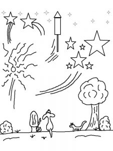 fireworks clipart coloring pages