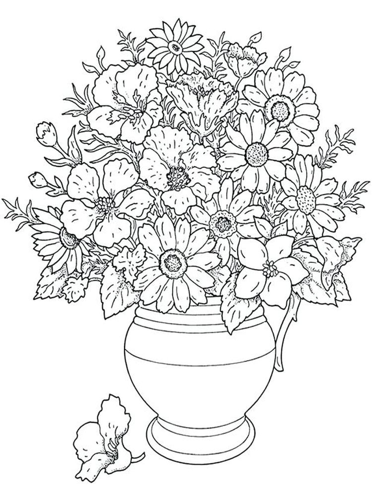 flower coloring pages black and white