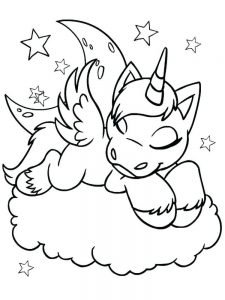 flying unicorn coloring pages printable