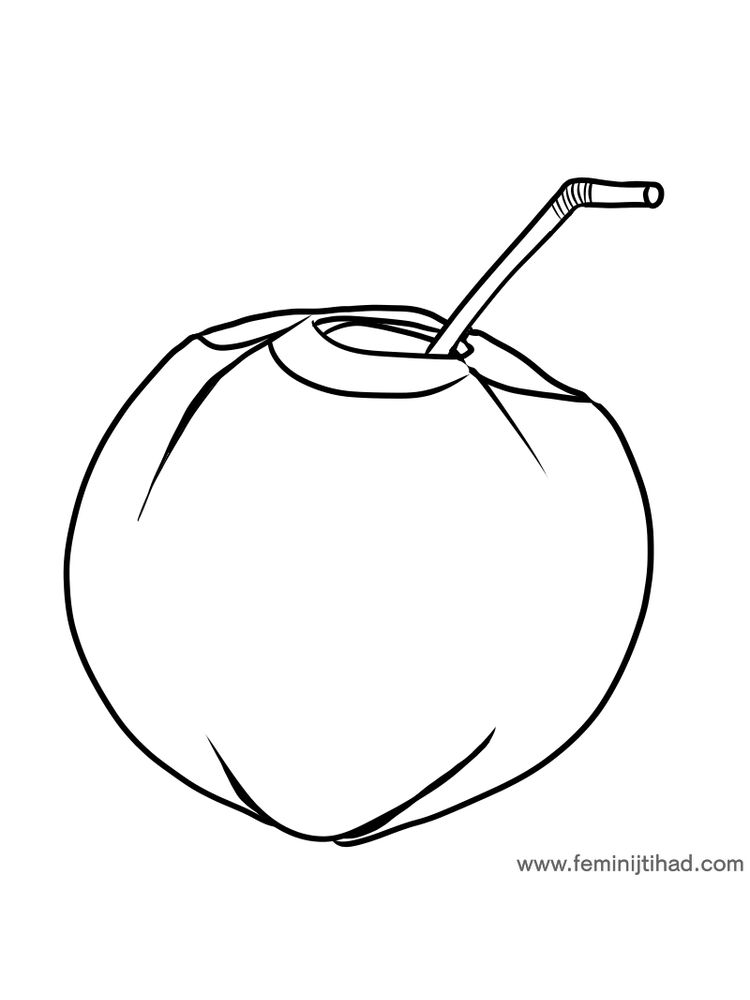 free coconut coloring image print