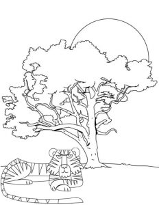 fun tiger coloring page for children