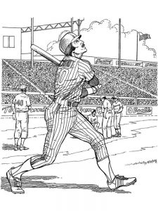 girl baseball player coloring page