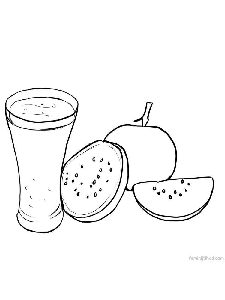 guava coloring picture print