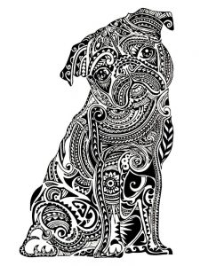 hard image coloring pages dog