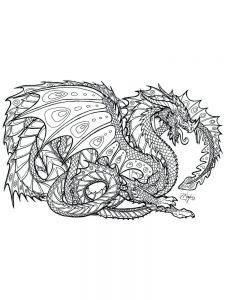 hard image coloring pages dragon