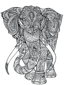 hard image coloring pages elephant