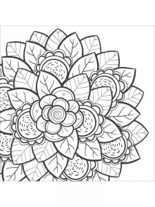 hard image coloring pages flower