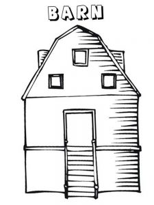 horse and barn coloring pages