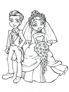 how to draw little bride and groom coloring pages free
