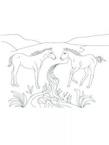 image wild horse coloring pages