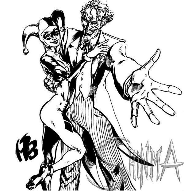 joker and harley queen coloring page
