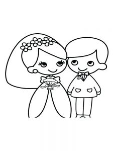 little bride and groom coloring page free