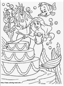 little mermaid coloring page wedding
