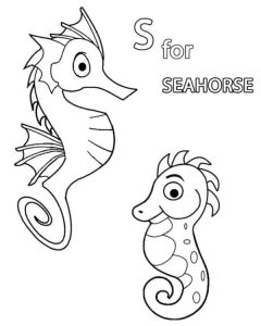 lovely seahorse coloring page