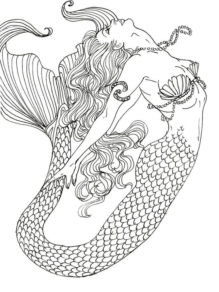 mermaid coloring pages anime