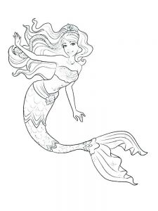 mermaid coloring pages black and white