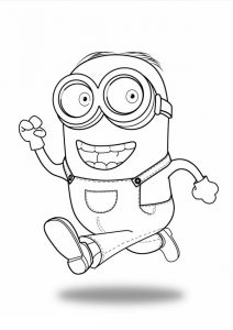 minion coloring pages bob walking