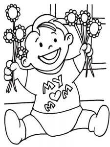mothers day bouquet coloring page