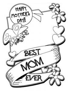 mothers day card coloring page