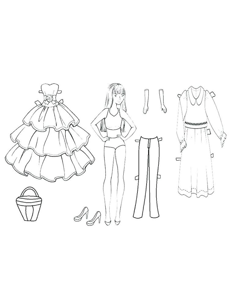 paper doll coloring page
