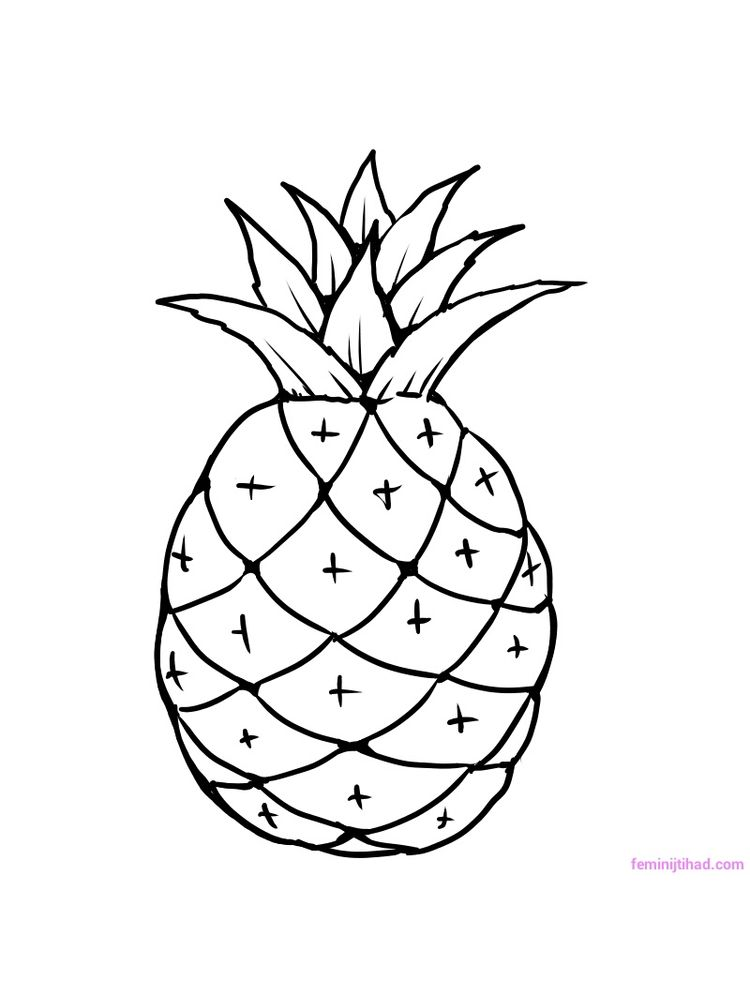 pineapple coloring picture print