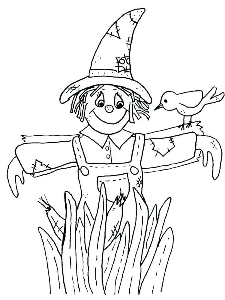 print scarecrow coloring pages