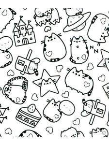 pusheen coloring page printable 1