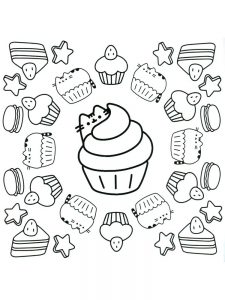 pusheen coloring pages cute 1
