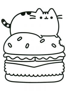 pusheen coloring pages donut 1