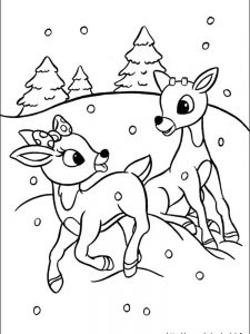 red nosed reindeer coloring page to download