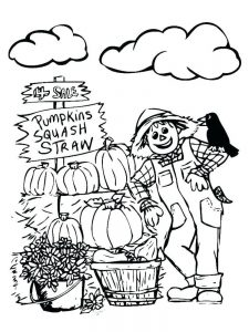 scarecrow coloring page free printable