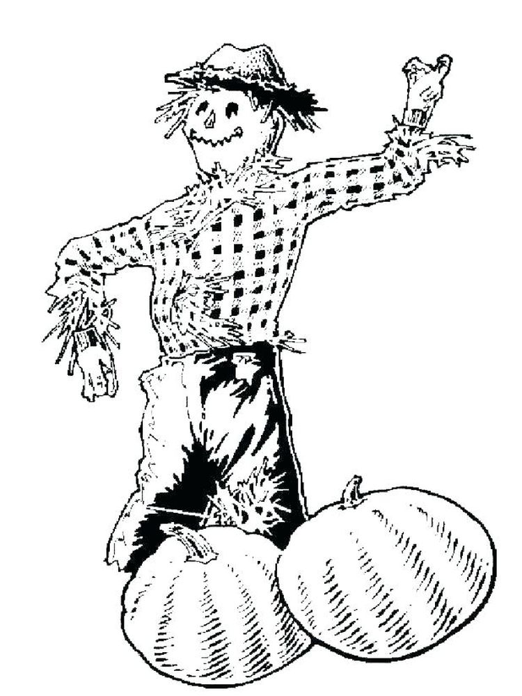 scarecrow coloring page to print