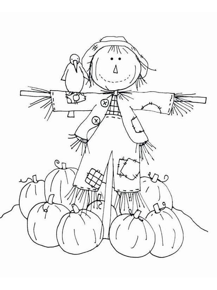 scarecrow coloring pages easy