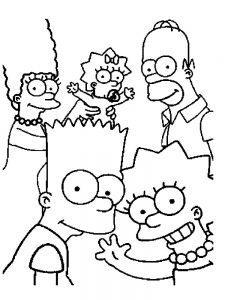 simpsons family coloring pages to print