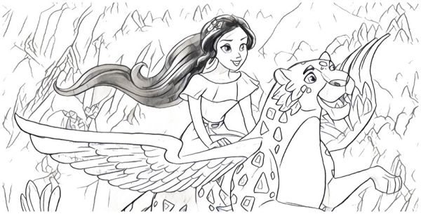 summer elena of avalor coloring pages