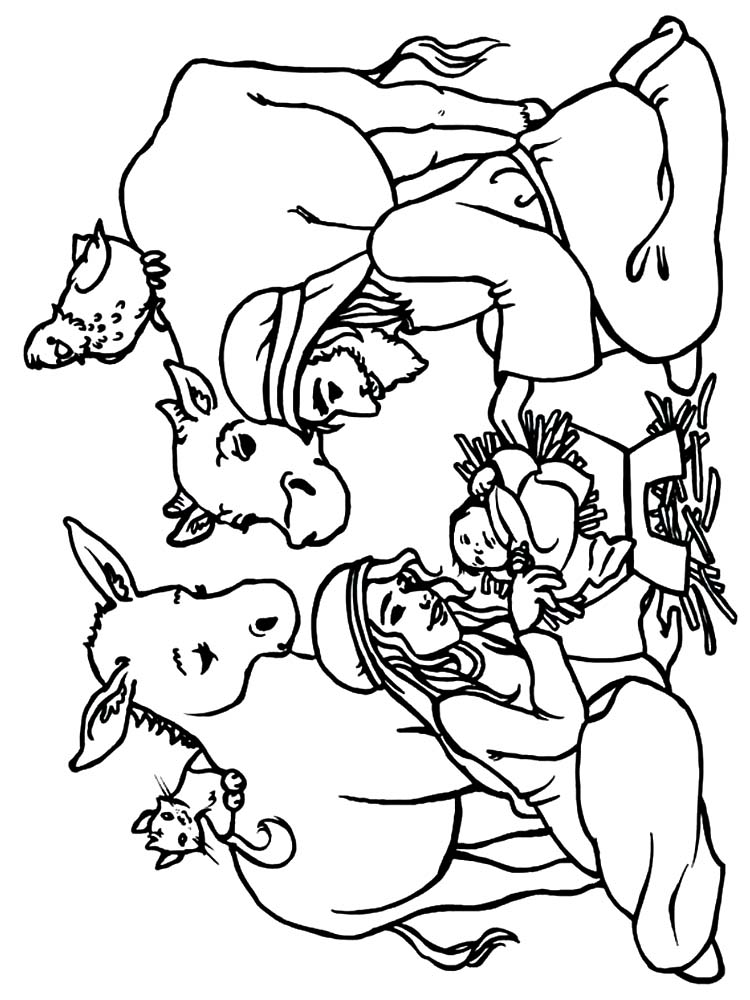 the nativity scene coloring pages