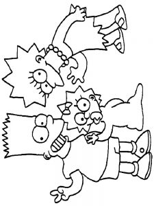 the simpsons christmas coloring pages free