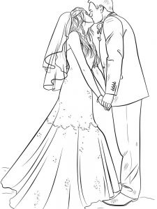 wedding bride and groom coloring page free